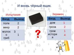И вновь чёрный ящик. Испытания Экзамен 1 2 1 4 Вход Выход поле 2 веер 2 молок