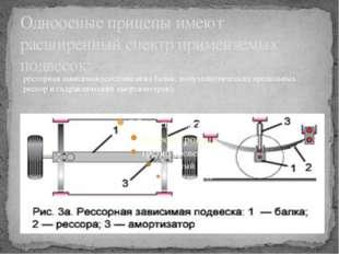 Одноосные прицепы имеют расширенный спектр применяемых подвесок: рессорная за