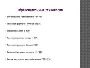 Образовательные технологии Информационно-коммуникативные –6 ч- 75% Технология