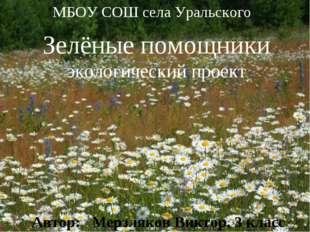 * * МБОУ СОШ села Уральского Зелёные помощники экологический проект Автор: Ме