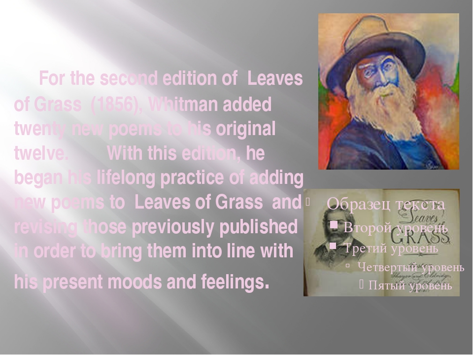 For the second edition of Leaves of Grass (1856), Whitman added twenty new p...