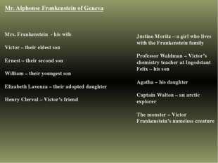 Mr. Alphonse Frankenstein of Geneva Mrs. Frankenstein - his wife Victor – the
