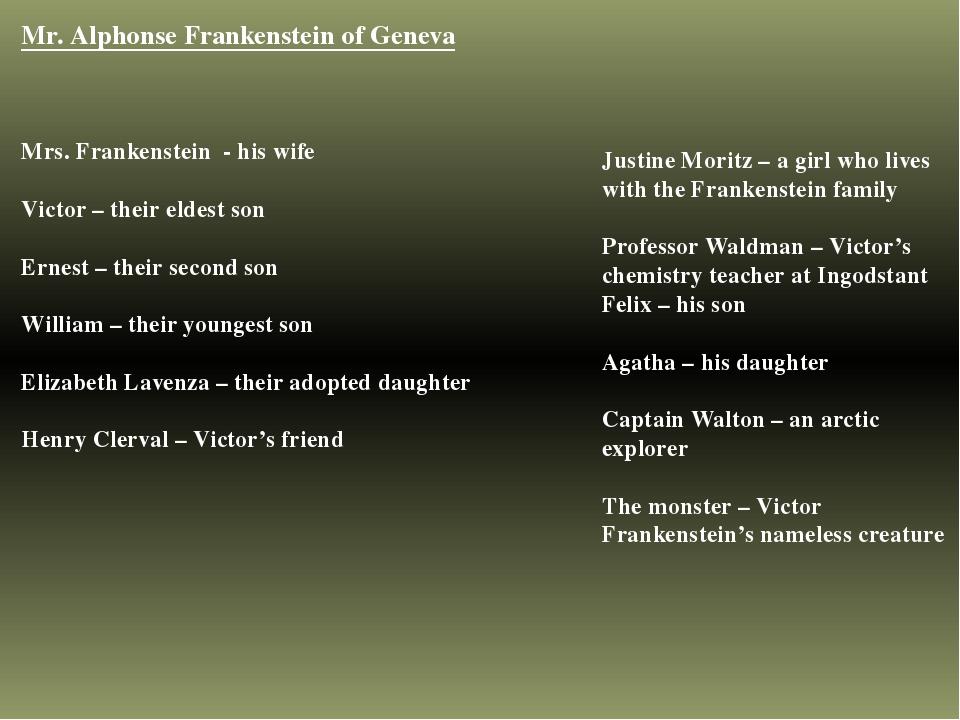 Mr. Alphonse Frankenstein of Geneva Mrs. Frankenstein - his wife Victor – the...