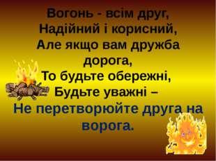 Вогонь - всім друг, Надійний і корисний, Але якщо вам дружба дорога, То будьт