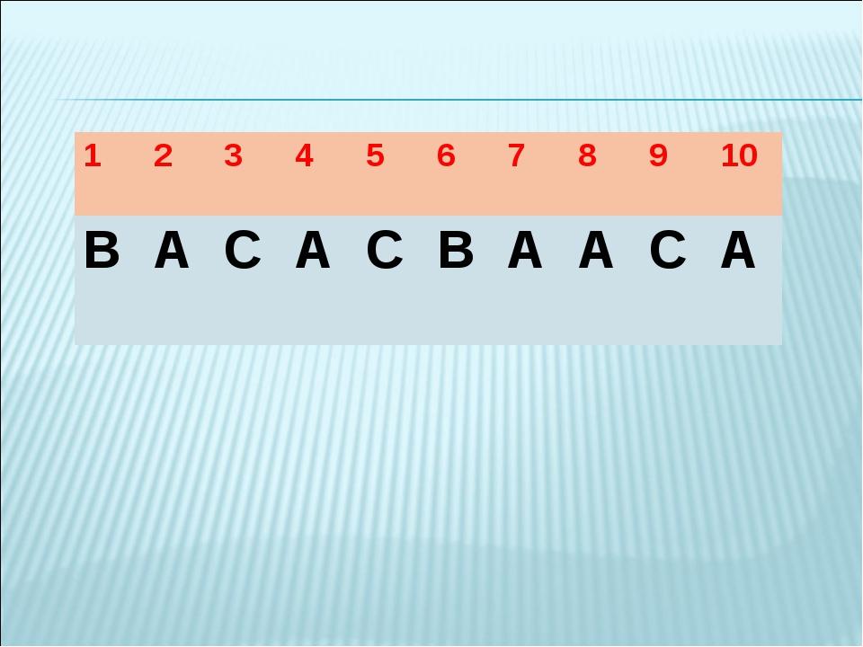 Тест жауабы 12345678910 ВАСАСВААСА