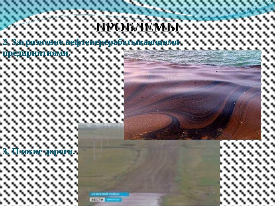 ПРОБЛЕМЫ 2. Загрязнение нефтеперерабатывающими предприятиями. 3. Плохие дороги.