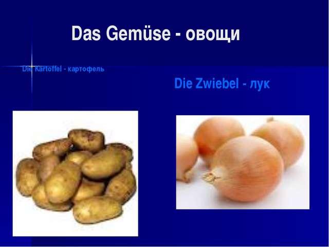 Das Gemüse - овощи Die Kartoffel - картофель Die Zwiebel - лук