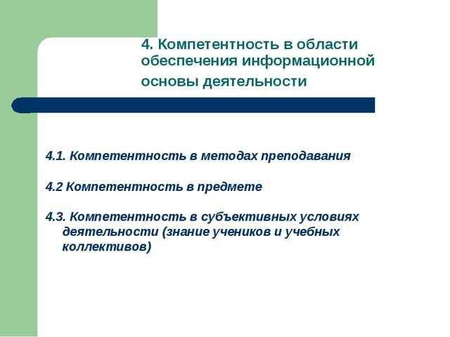 4.Компетентность в области обеспечения информационной основы деятельности 4....
