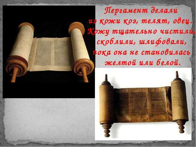 Пергамент делали из кожи коз, телят, овец. Кожу тщательно чистили, скоблили,...