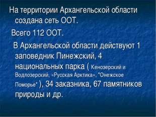 На территории Архангельской области создана сеть ООТ. Всего 112 ООТ. В Арханг