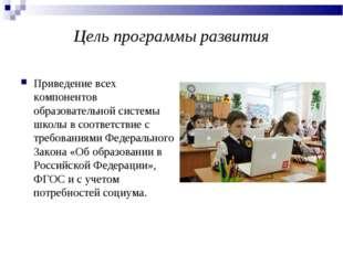 Цель программы развития Приведение всех компонентов образовательной системы ш
