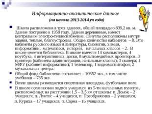 Информационно-аналитические данные (на начало 2013-2014 уч года) Школа распол