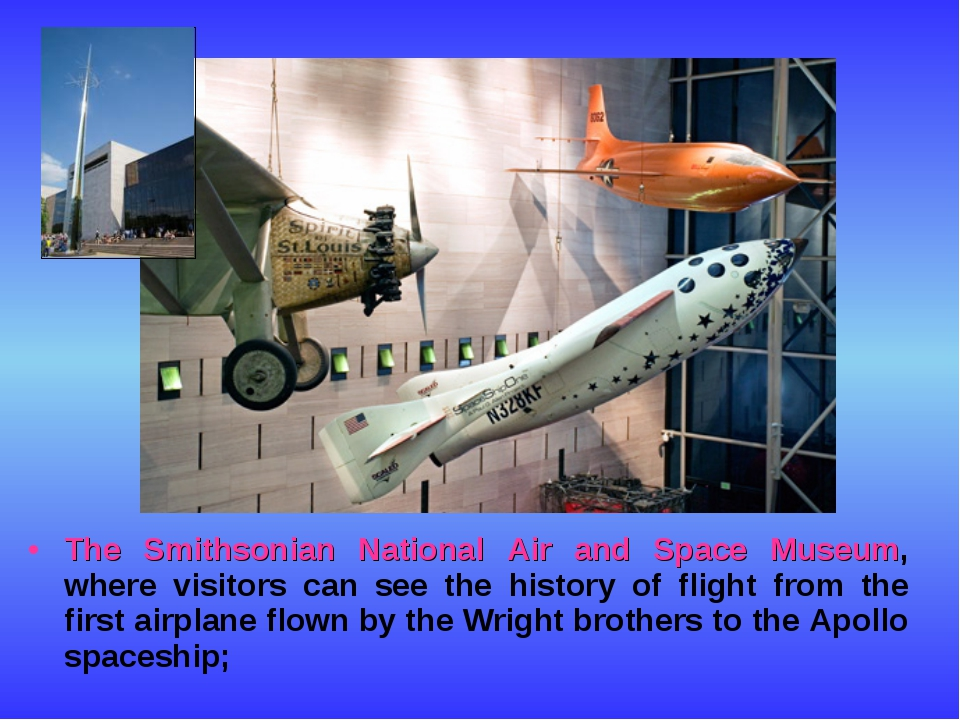The Smithsonian National Air and Space Museum, where visitors can see the his...