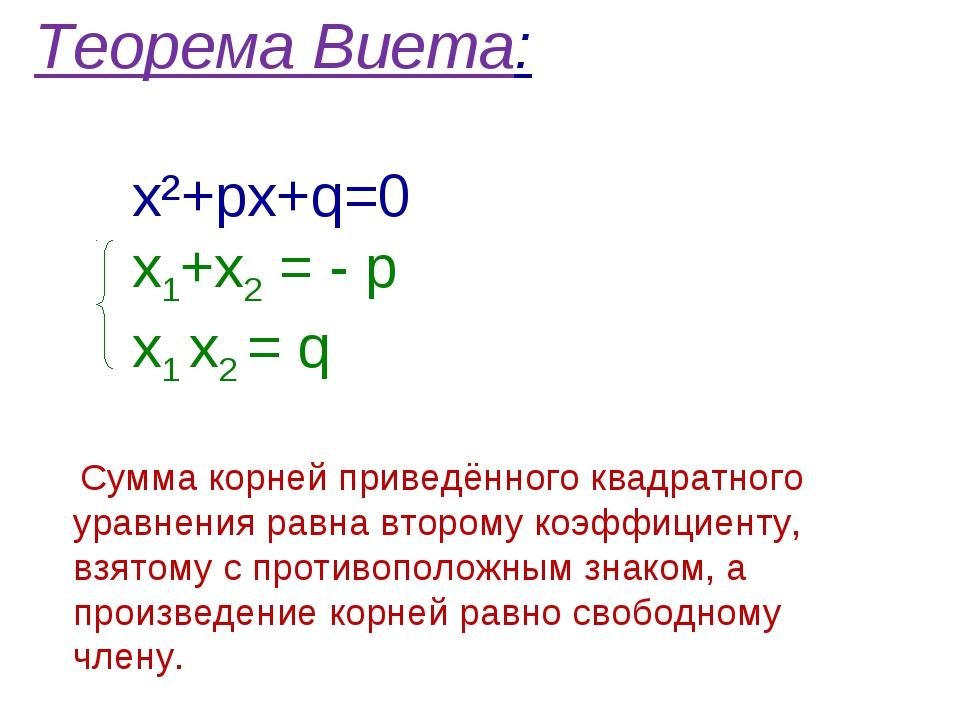 виета решебник теорема