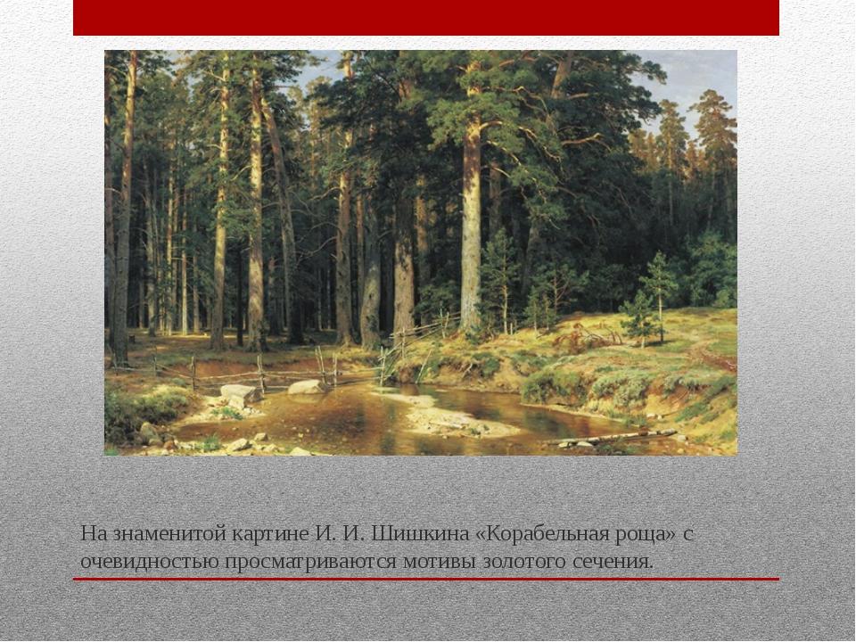 На знаменитой картине И. И. Шишкина «Корабельная роща» с очевидностью просма...