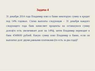 Задача 4 31 декабря 2014 года Владимир взял в банке некоторую сумму в кредит