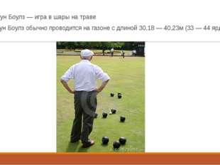 Лоун Боулз — игра в шары на траве Лоун Боулз обычно проводится на газоне с дл