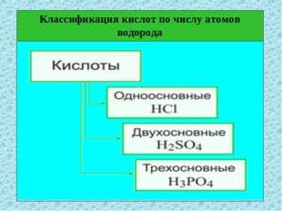 Классификация кислот по числу атомов водорода
