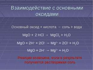 Взаимодействие с основными оксидами Основный оксид + кислота → соль + вода Ре