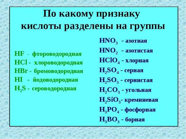 По какому признаку кислоты разделены на группы HNO3 - азотная HNO2 - азотиста...