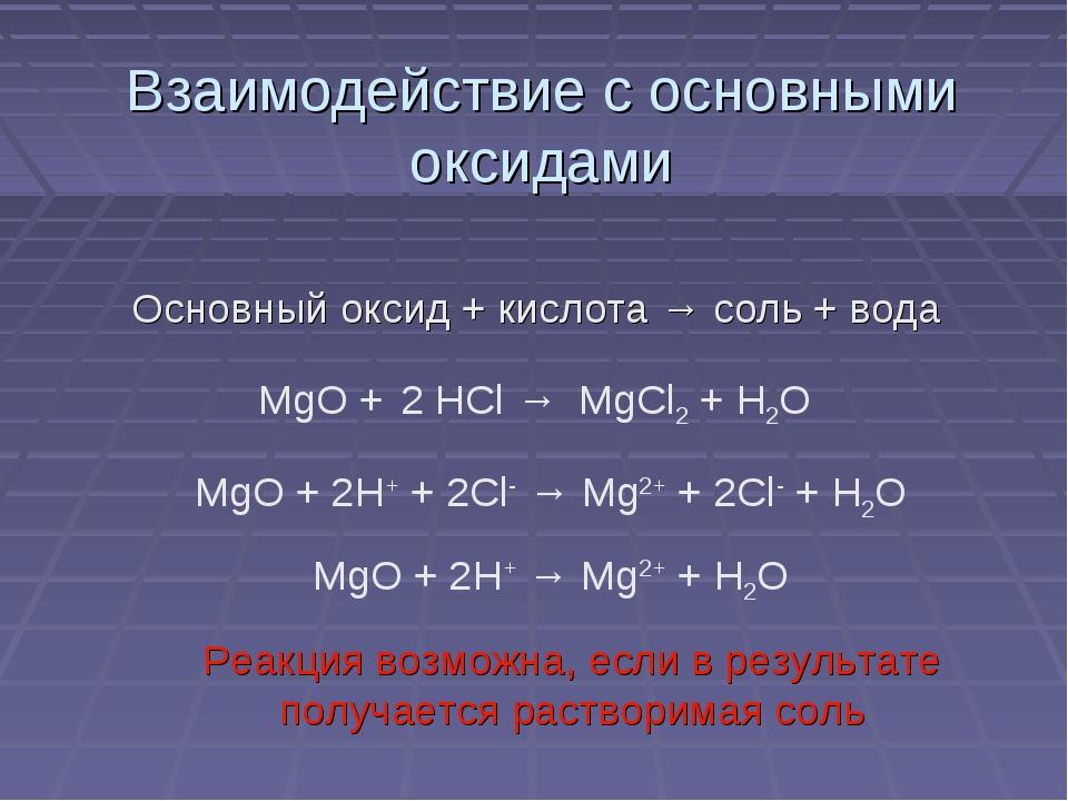 Взаимодействие с основными оксидами Основный оксид + кислота → соль + вода Ре...