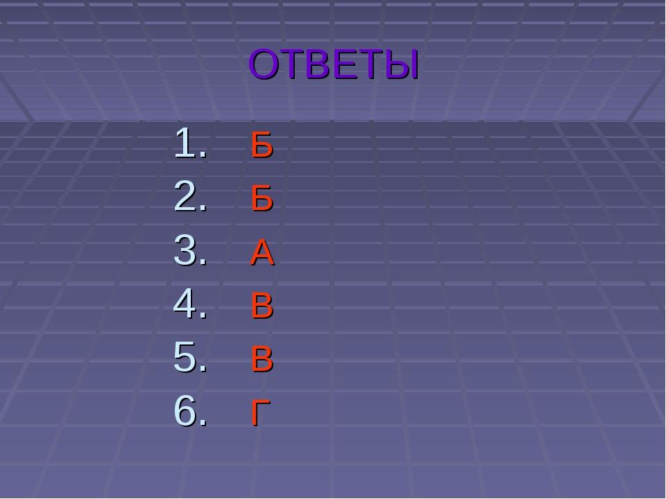 ОТВЕТЫ Б Б А В В Г