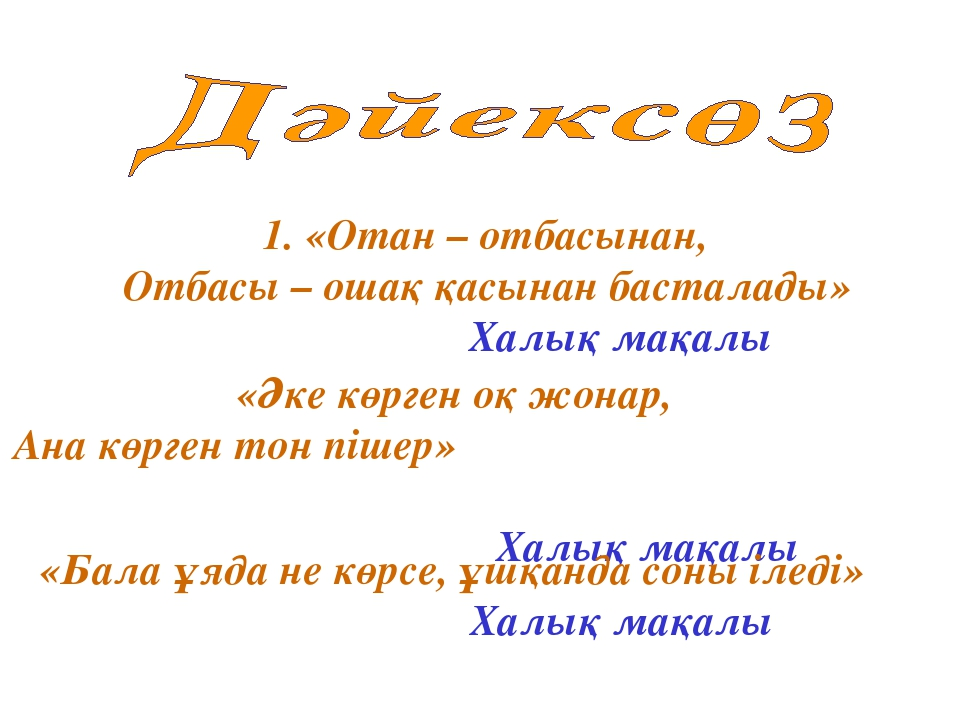 1. «Отан – отбасынан, Отбасы – ошақ қасынан басталады» Халық мақалы «Әке көр...