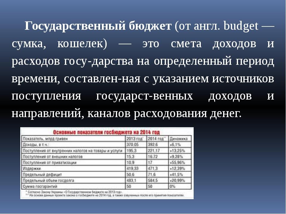 Государственный бюджет (от англ. budget — сумка, кошелек) — это смета доходо...