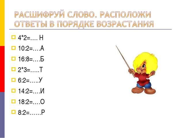 4*2=…. Н 10:2=….А 16:8=….Б 2*3=…..Т 6:2=…..У 14:2=….И 18:2=….О 8:2=……Р