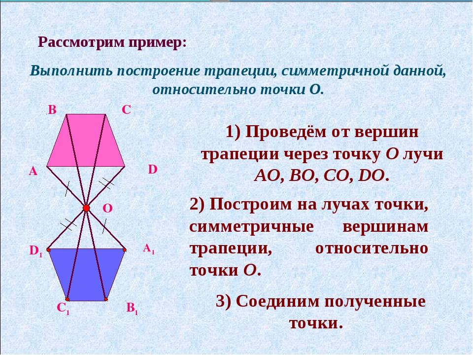 Рассмотрим пример: Выполнить построение трапеции, симметричной данной, относи...
