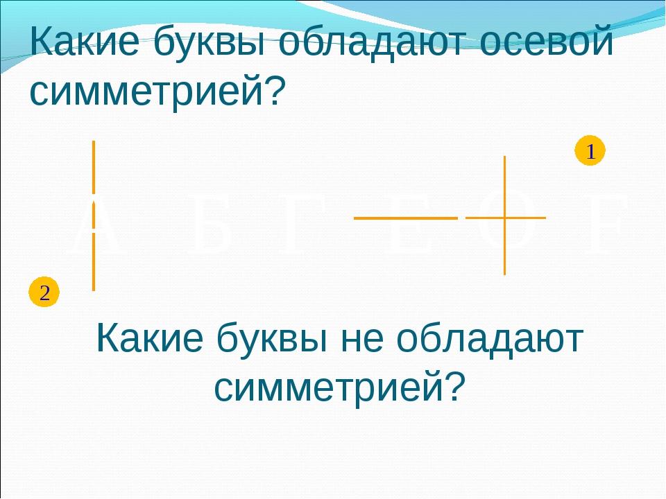 F А Б E Г O 1 2 Какие буквы обладают осевой симметрией? Какие буквы не облада...