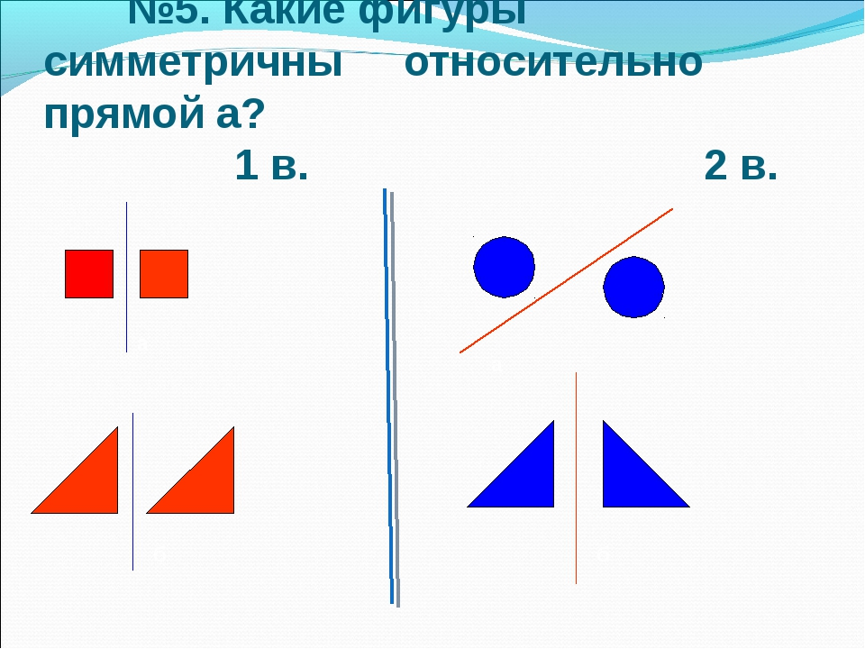 а б а б №5. Какие фигуры симметричны относительно прямой а? 1 в. 2 в.
