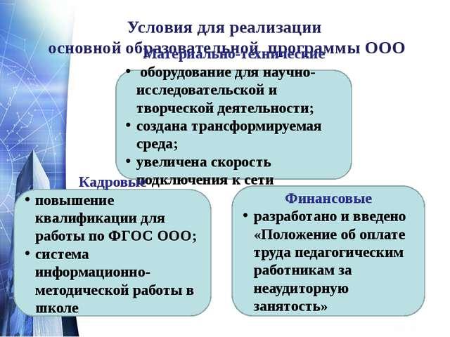 Условия для реализации основной образовательной программы ООО Материально-те...