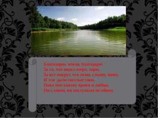 Благодарю, земля, благодарю За то, что видел озеро, зарю, За все вокруг, что