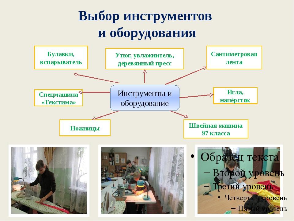 Выбор инструментов и оборудования Инструменты и оборудование Ножницы Игла, на...