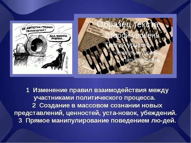 1 Изменение правил взаимодействия между участниками политического процесса....