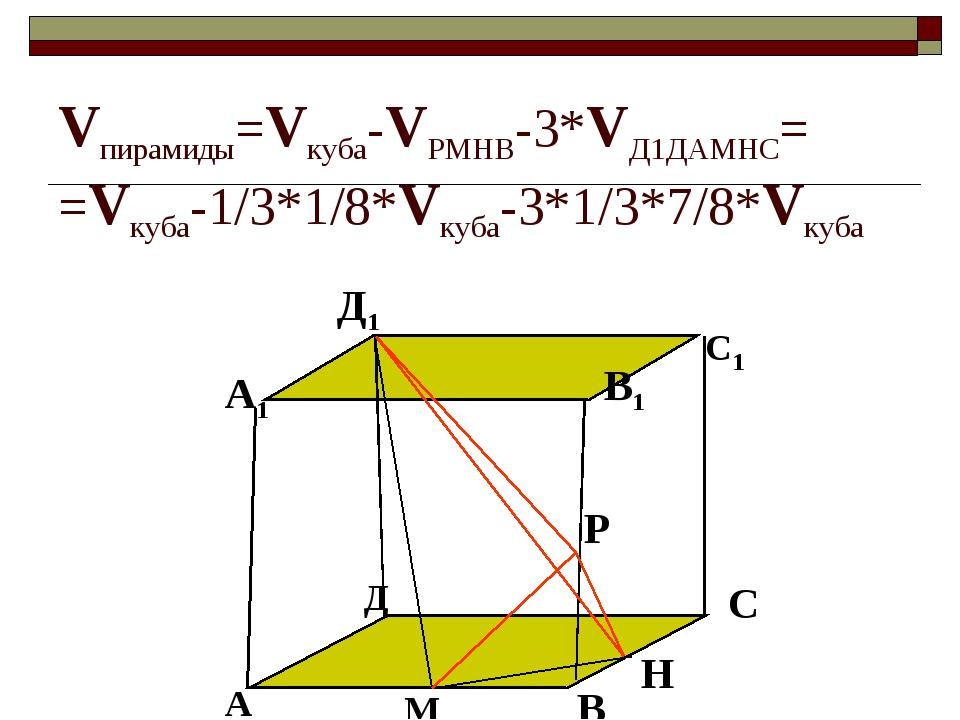 Vпирамиды=Vкуба-VРМНВ-3*VД1ДАМНС= =Vкуба-1/3*1/8*Vкуба-3*1/3*7/8*Vкуба А В С...