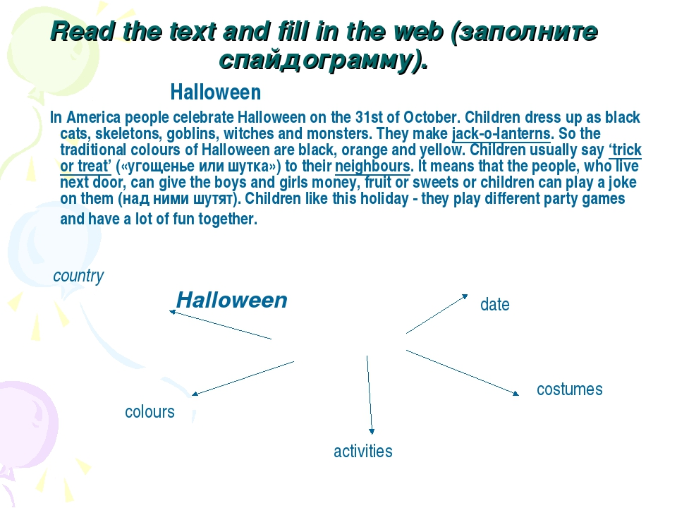 Read the text and fill in the web (заполните спайдограмму). Halloween In Am...