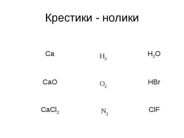 Крестики - нолики Н2 О2 N2 Ca  H2O CaO  HBr CaCl2  ClF
