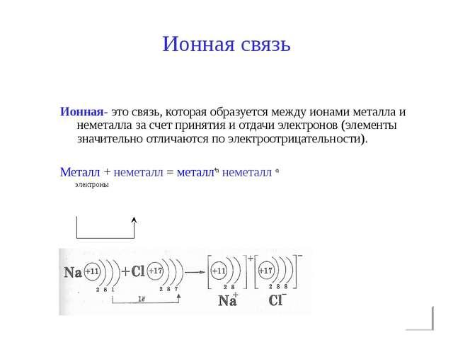 Ионная связь Ионная- это связь, которая образуется между ионами металла и нем...