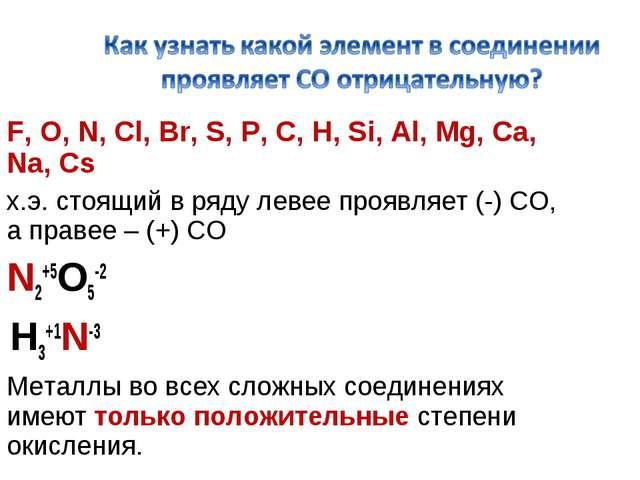 F, O, N, Cl, Br, S, P, C, H, Si, Al, Mg, Ca, Na, Cs х.э. стоящий в ряду левее...