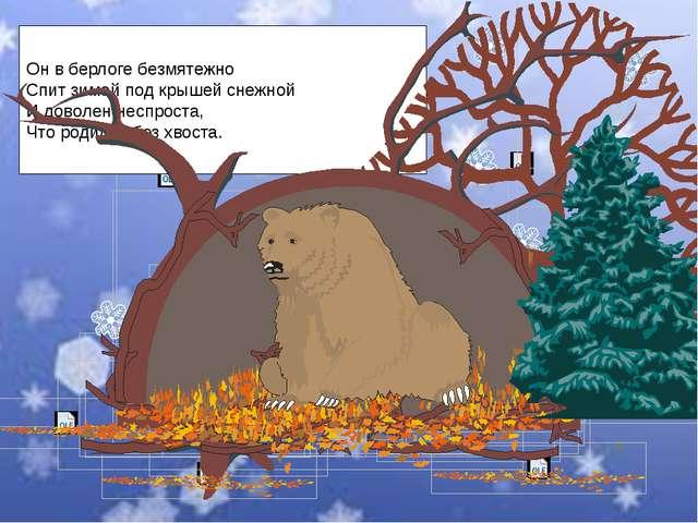 Он в берлоге безмятежно Спит зимой под крышей снежной И доволен неспроста, Чт...