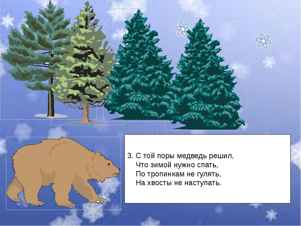 3. С той поры медведь решил, Что зимой нужно спать, По тропинкам не гулять, Н...