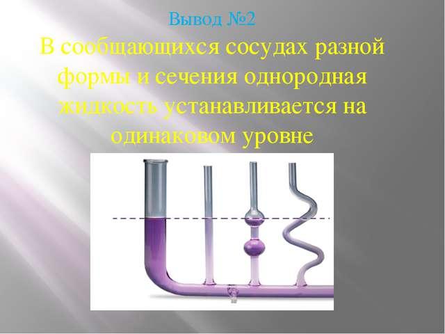 Вывод №2 В сообщающихся сосудах разной формы и сечения однородная жидкость ус...