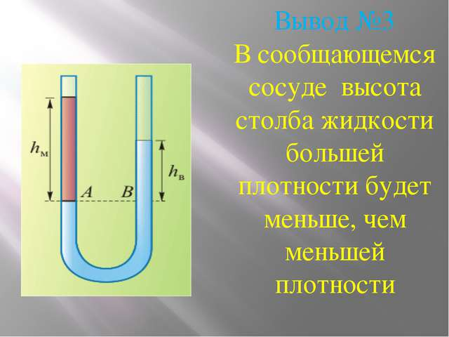 Вывод №3 В сообщающемся сосуде высота столба жидкости большей плотности будет...