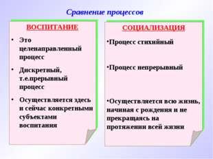 Сравнение процессов ВОСПИТАНИЕ Это целенаправленный процесс Дискретный, т.е.п