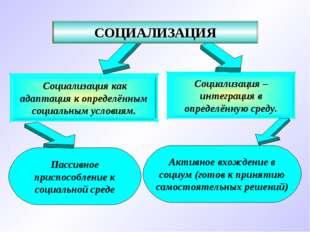 Социализация – интеграция в определённую среду. Социализация как адаптация к