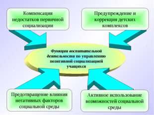 Функции воспитательной деятельности по управлению позитивной социализацией уч