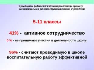 5-11 классы 41% - активное сотрудничество 0 % - не принимают участия в деятел