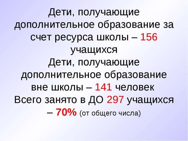 Дети, получающие дополнительное образование за счет ресурса школы – 156 учащ...